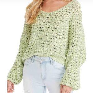 FREE PEOPLE Kiwi Cream ComboCoconut V-Neck Sweater